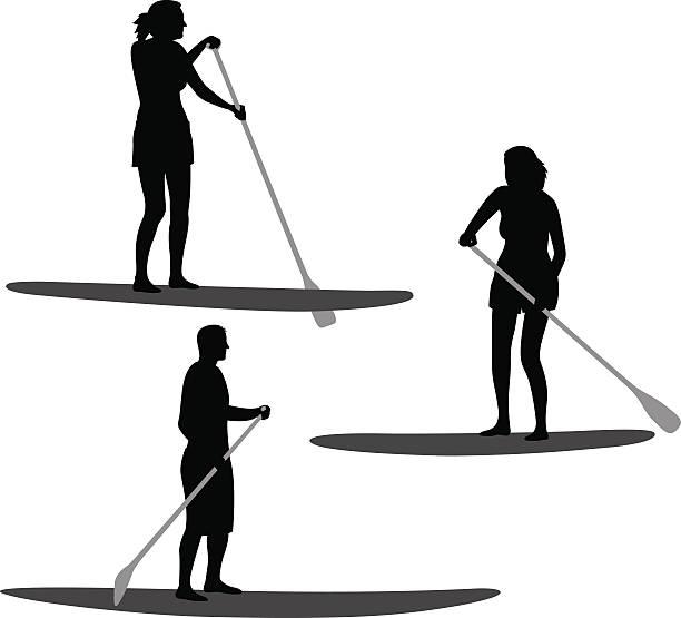 illustrations, cliparts, dessins animés et icônes de silhouettes de paddle - sports de pagaie