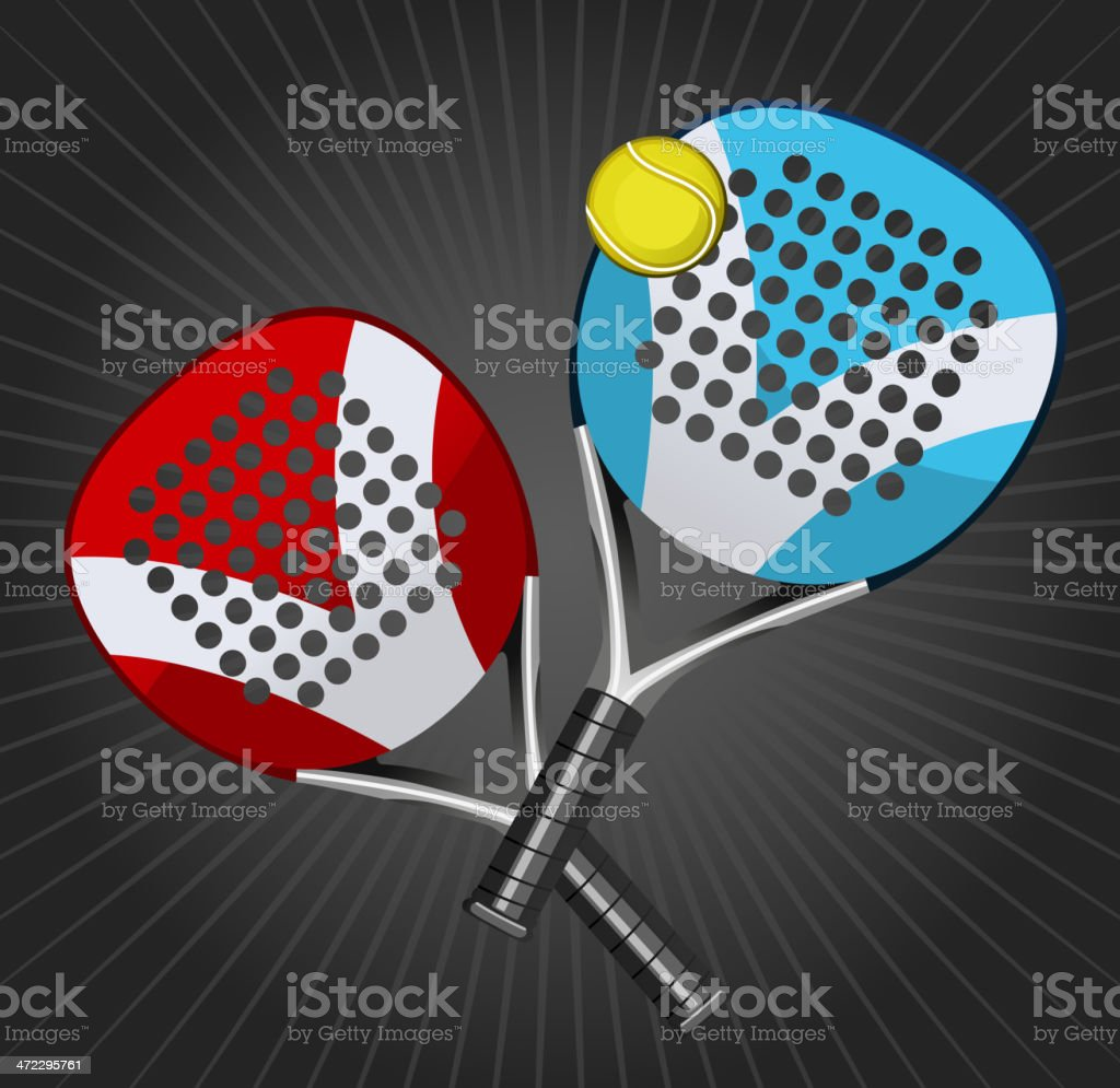 Paddle Match Rackets and Ball Set vector art illustration
