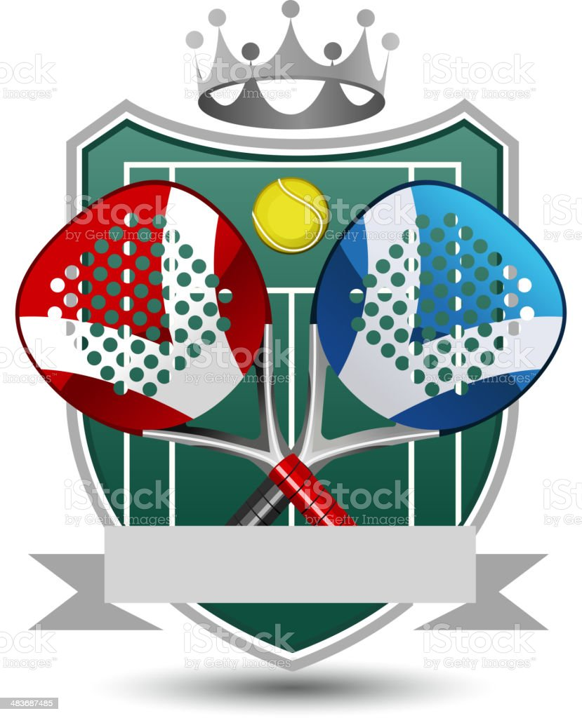 Paddle Sport Emblem With Rackets, ball, banner and Crown. royalty-free paddle sport emblem with rackets ball banner and crown stock vector art & more images of 1980-1989
