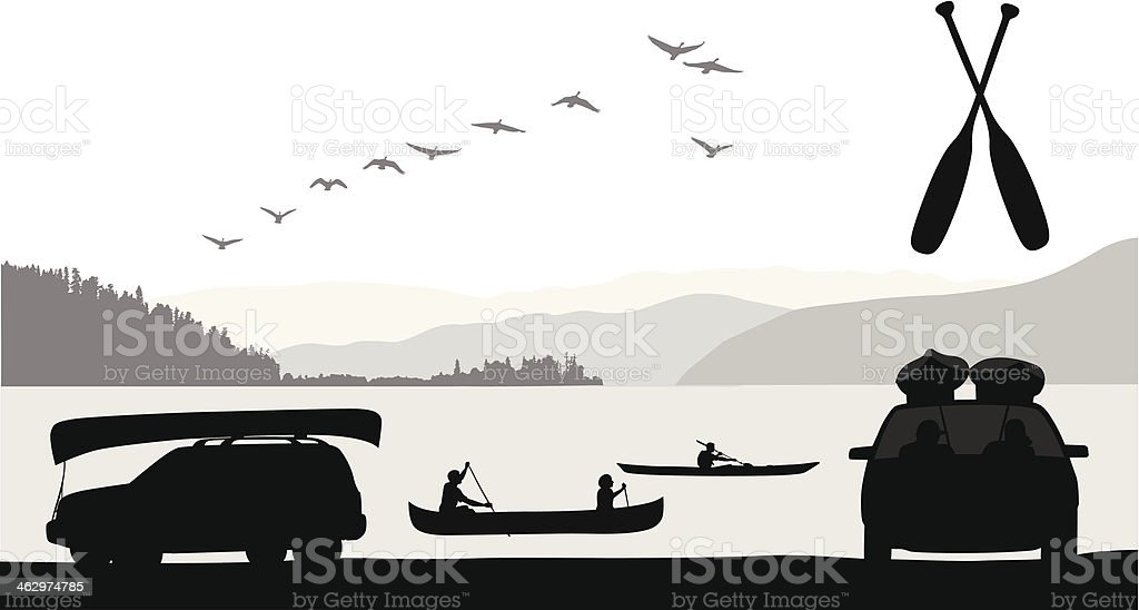 Paddle Sports vector art illustration
