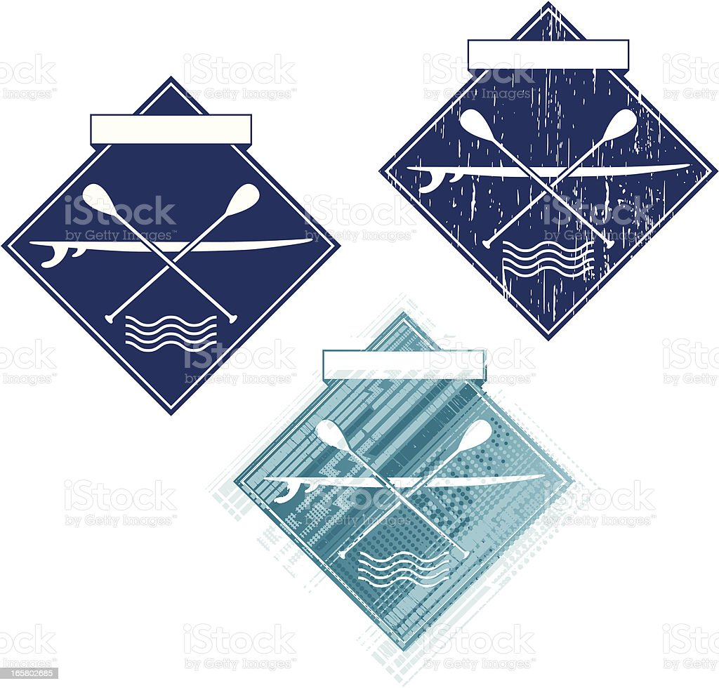 paddle surfboards emblem royalty-free stock vector art