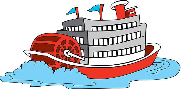 Paddle Wheel River Boat Vector Art Illustration