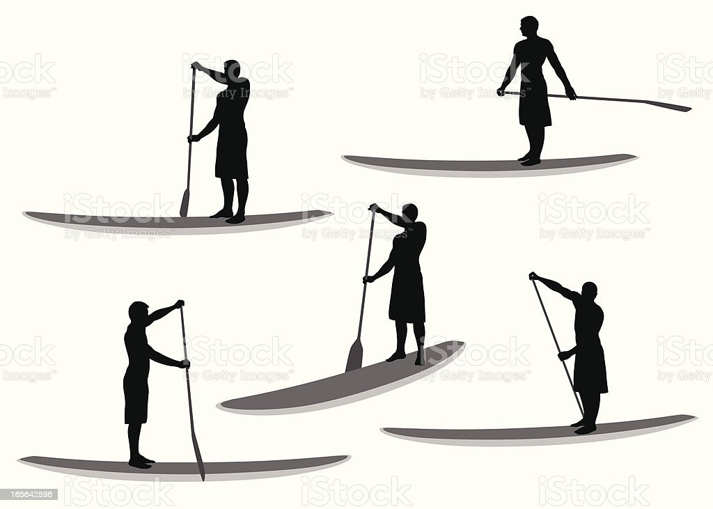 PaddleBoard Vector Silhouette royalty-free stock vector art