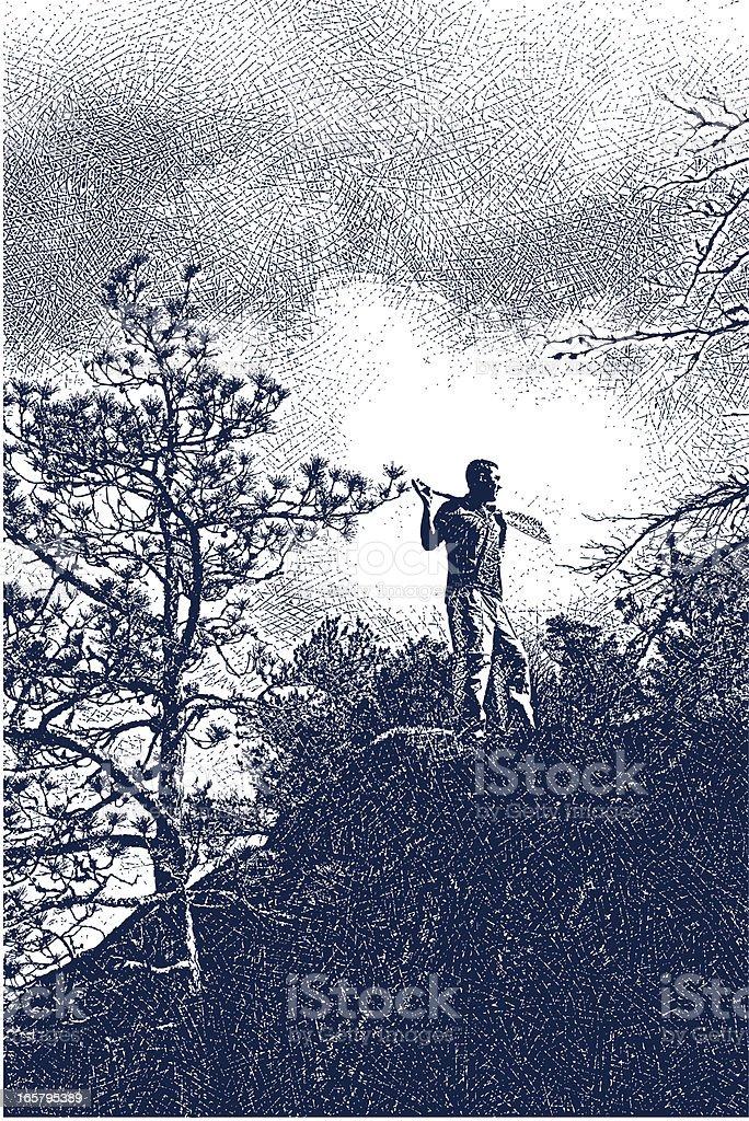 Paddler Standing On Cliff vector art illustration