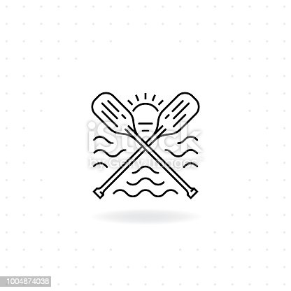 Paddles icon, Black thin line crossed canoe paddles icon with shadow, Boat oars vector for symbol of water sport and outdoor activities, River raft, kayak, canoe, paddles, life vest