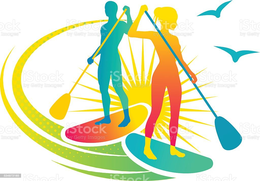 Paddling vector art illustration