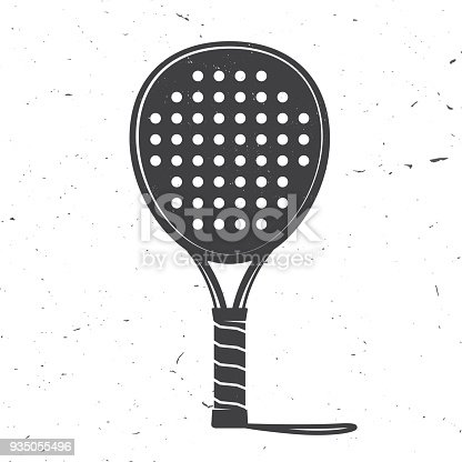 Padel tennis racket icon. Vector illustration. Silhouette of tennis racket isolated on white background.