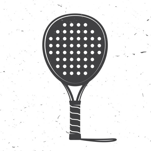 Padel tennis racket icon. Vector illustration Padel tennis racket icon. Vector illustration. Silhouette of tennis racket isolated on white background. racket stock illustrations
