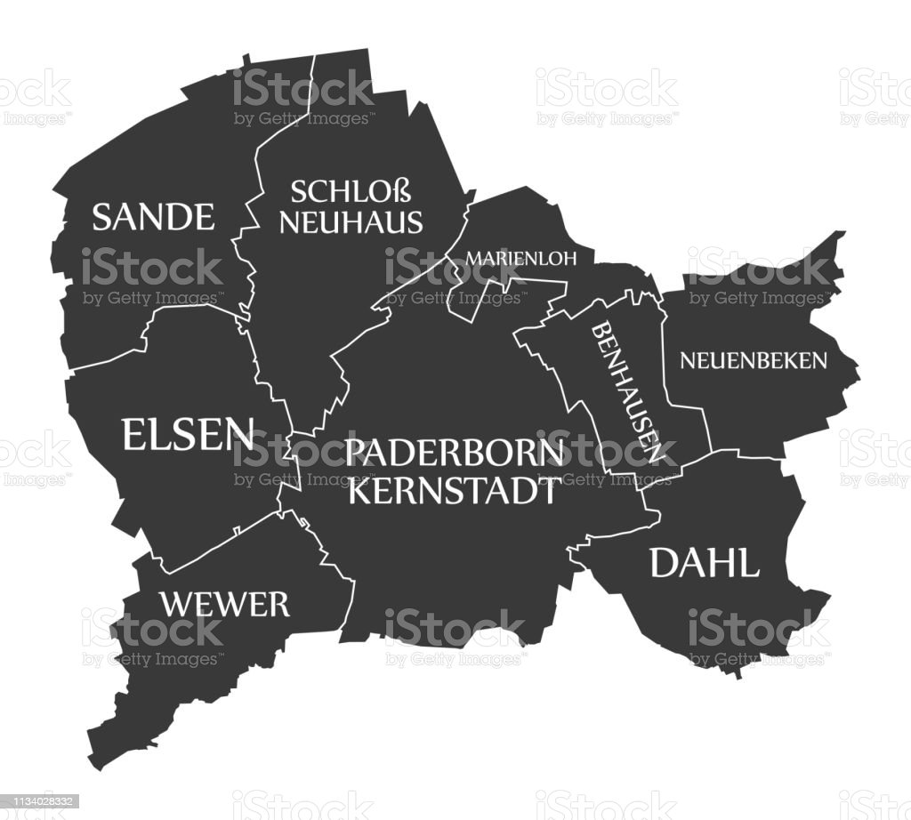 Map Of Germany Gelsenkirchen.Paderborn City Map Germany De Labelled Black Illustration Stock