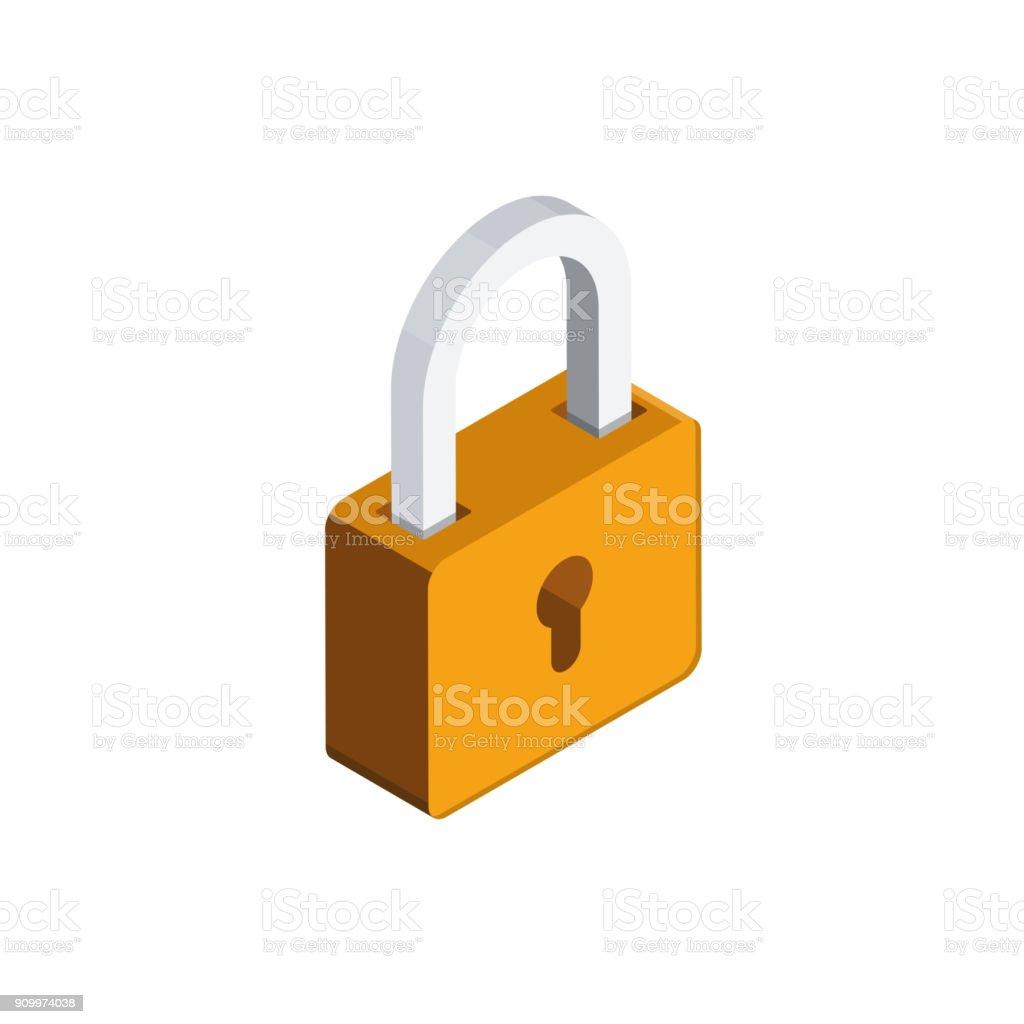자물쇠 3 차원 isometric 아이콘 - 로열티 프리 0명 벡터 아트