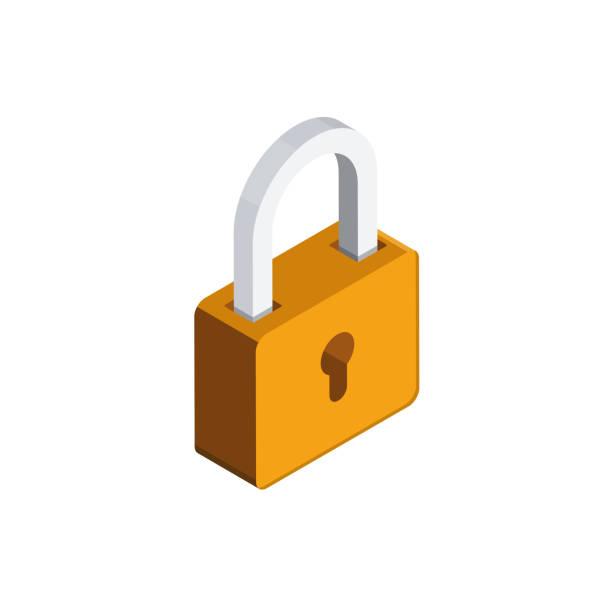 Padlock 3D isometric icon Padlock 3D isometric icon padlock stock illustrations