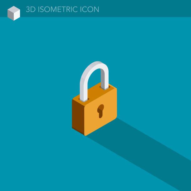 padlock 3D isometric web icon padlock 3D isometric web icon padlock stock illustrations