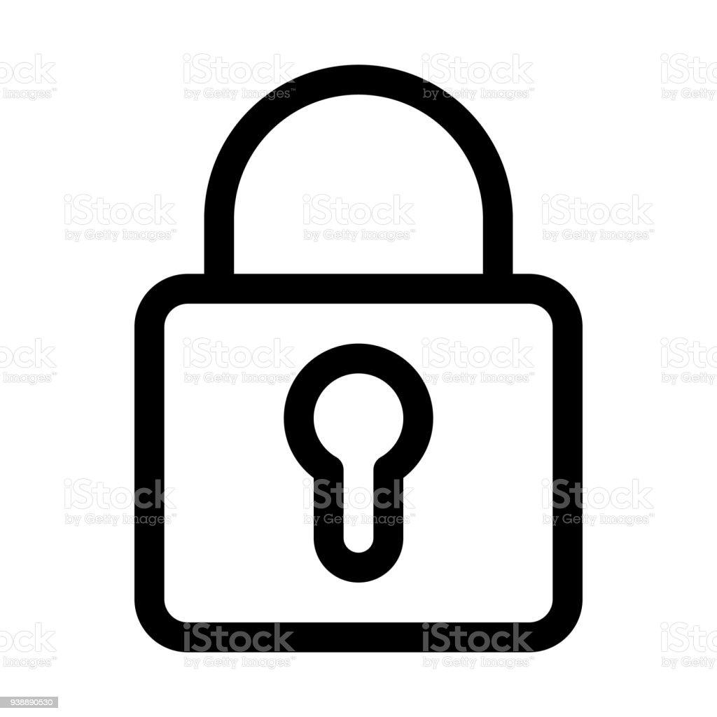 29cb646266 Padlock icon. Symbol of security and secret. Outline modern design element.  Simple black
