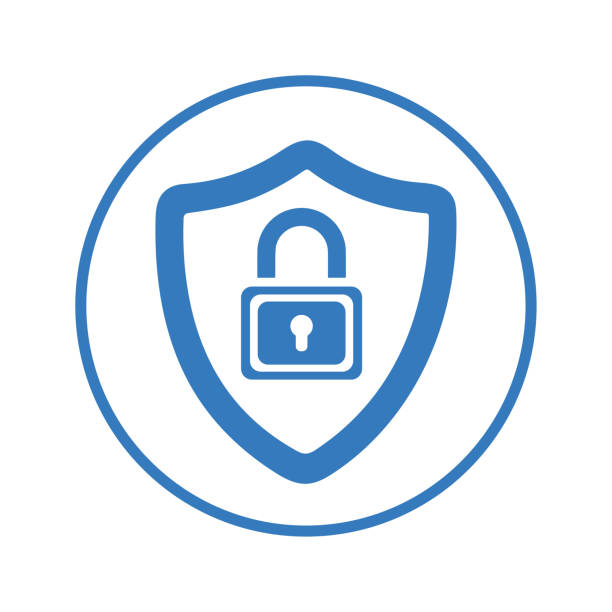Padlock in security shield, Lock, protection, security icon logo Beautiful design and fully editable Padlock in security shield, Lock, protection, security icon logo for commercial, print media, web or any type of design projects. antivirus software stock illustrations