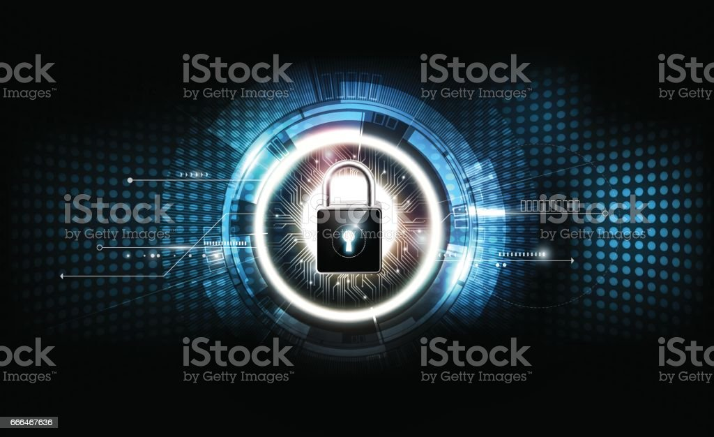 Padlock security lock concept futuristic electronic technology background, vector illustration vector art illustration