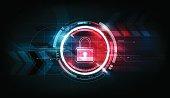 Padlock security lock concept futuristic electronic technology background, vector illustration