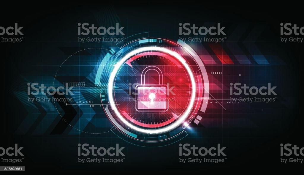 Cadeado de segurança bloqueio conceito futurista tecnologia eletrônica plano de fundo, ilustração do vetor - ilustração de arte em vetor
