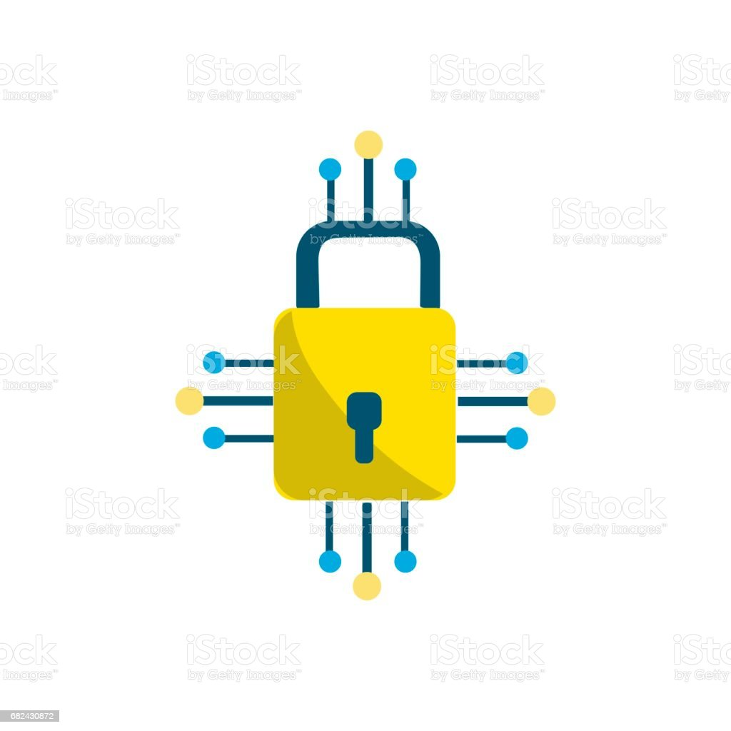 padlock with circuits to security dgital connection royalty-free padlock with circuits to security dgital connection stock vector art & more images of antenna - aerial