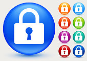 Padlock with Key Hole Icon. The main icon is placed on a flat blue background. It takes up the center portion of the composition and is the main focus of this vector illustration. The icon is simple and the background further emphasizes the icon shape and makes it stand out. The illustration is a 100% royalty free vector.. The icon is white and is placed on a round blue vector button. The button has a sight shadow and the background is light. The composition is simple and elegant. The vector icon is the most prominent part if this illustration. There are eight alternate button variations on the right side of the image. The alternate colors are orange, red, purple, maroon, light blue, green, teal and indigo.