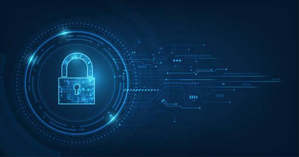 ilustrações, clipart, desenhos animados e ícones de cadeado com ícone do buraco da fechadura na segurança de dados pessoais ilustra dados cibernéticos ou idéia de privacidade de informações. azul cor abstrata oi velocidade internet tecnologia. - fechado