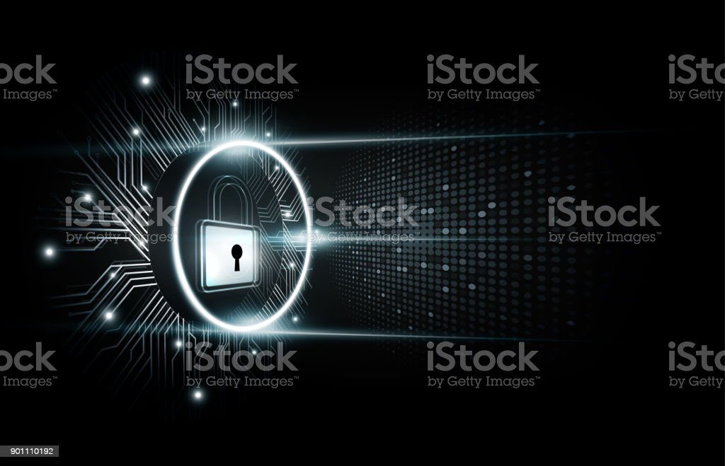 Padlock with security lock hologram, futuristic technology background, vector illustration vector art illustration