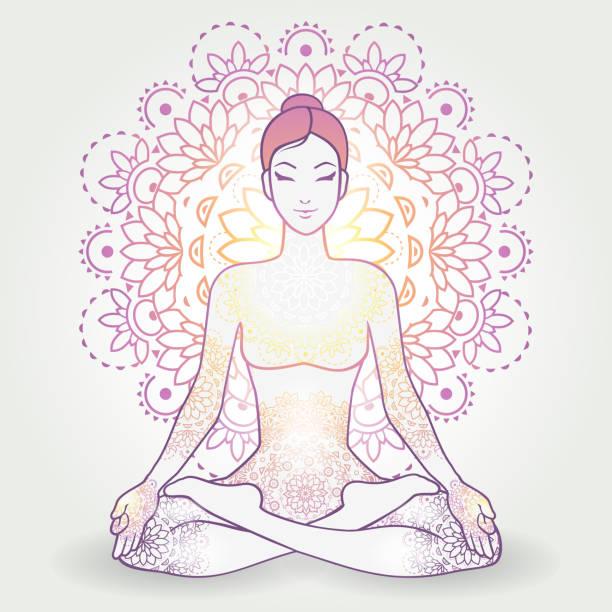 Padmasana Decoration Yoga Asana Padmasana, Lotus Position, With Decoration-transparency blending effects and gradient mesh-EPS 10. yogi stock illustrations