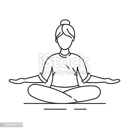 Padmasana Lotus position black line icon. Cross-legged sitting asana, in which each foot is placed on the opposite thigh. Pictogram for web page, mobile app, promo. Editable stroke.