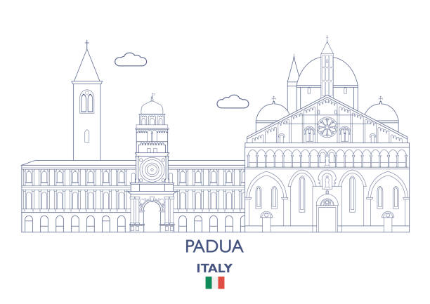 padua stadt skyline, italien - padua stock-grafiken, -clipart, -cartoons und -symbole