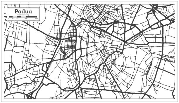 padua italien stadtplan im retro-stil. der umriß. - padua stock-grafiken, -clipart, -cartoons und -symbole