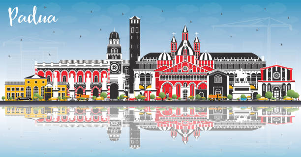 padua italy city skyline mit farbgebäuden, blauem himmel und reflexionen. - padua stock-grafiken, -clipart, -cartoons und -symbole