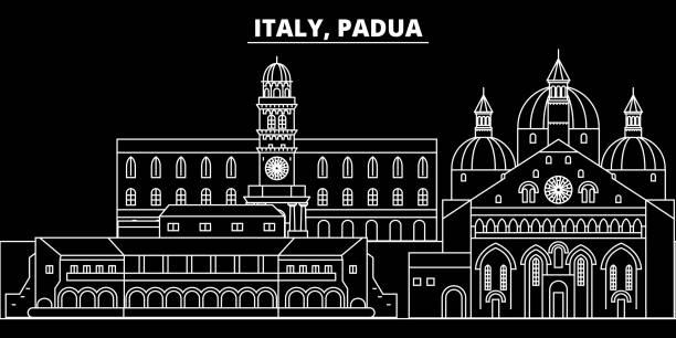 padua silhouette skyline. italien - padua-vektor-stadt, italienische lineare architektur, gebäude. padua reise darstellung, gliederung wahrzeichen. italien wohnung symbol, italienische linie banner - padua stock-grafiken, -clipart, -cartoons und -symbole