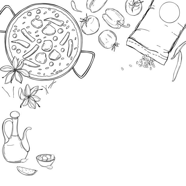 stockillustraties, clipart, cartoons en iconen met paella set. vectorachtergrond. - paella