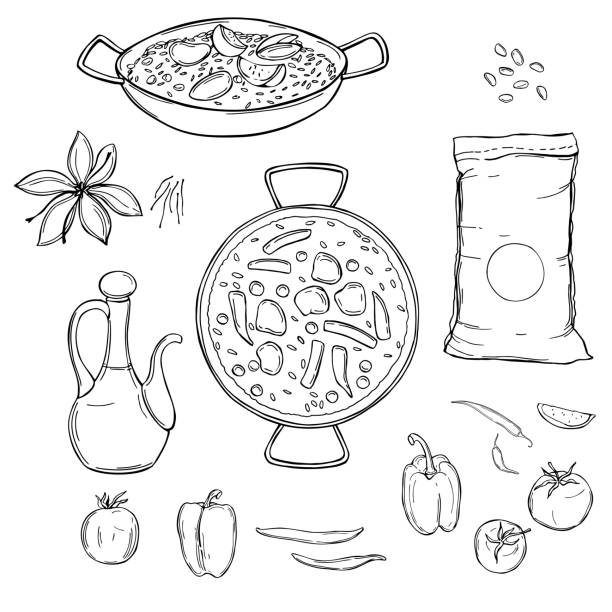 stockillustraties, clipart, cartoons en iconen met paella set. vectorillustratie - paella