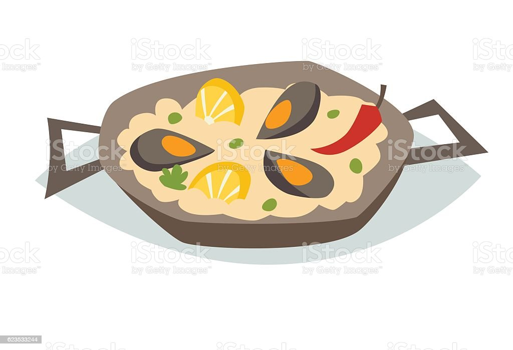 Paella with seafood vector illustration. Traditional spanish food - Illustration vectorielle