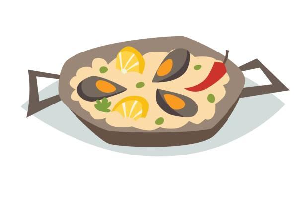 ilustraciones, imágenes clip art, dibujos animados e iconos de stock de paella con ilustración de vector de mariscos. comida tradicional española - comida española