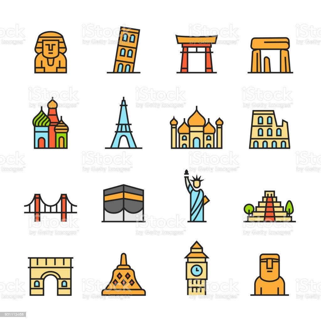 Paforo Icon Set: Famous Landmark vector art illustration