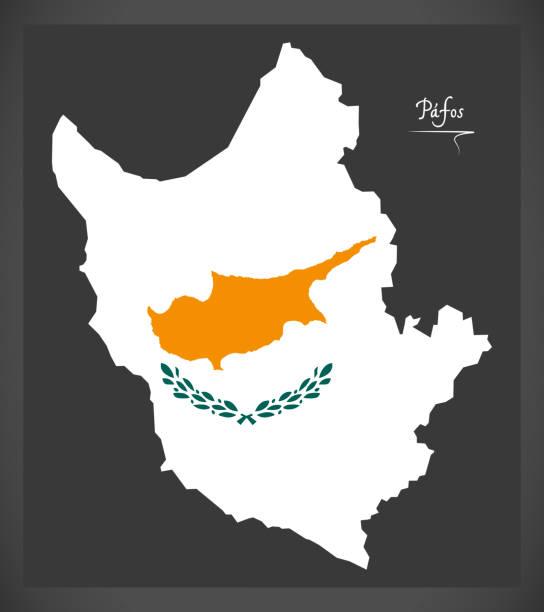 paphos karte von zypern mit cyprian nationalflagge illustration - paphos stock-grafiken, -clipart, -cartoons und -symbole