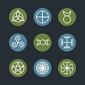 Pagan ancient symbols, mystery sacred icons, illustration