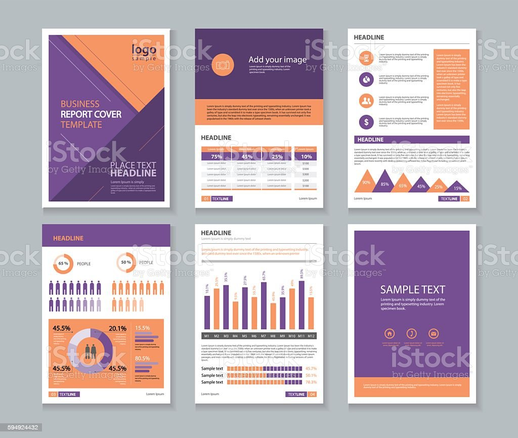 page brochure, flyer, report Layout template with info graphic vector art illustration