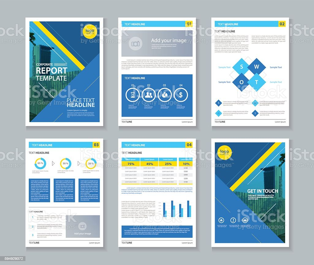 Page Brochure Flyer Report Layout Template With Info Graphic Stock - 1 page brochure template