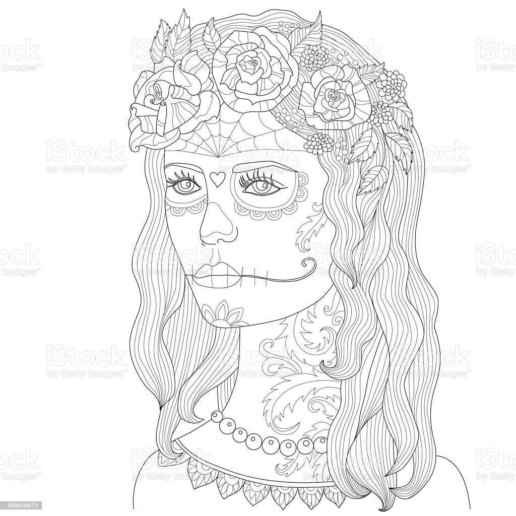Page Coloring For Adults Beautiful Girl With Makeup Death Mask Stock