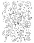 Page coloring for adults, floral design, anti-stress Coloring