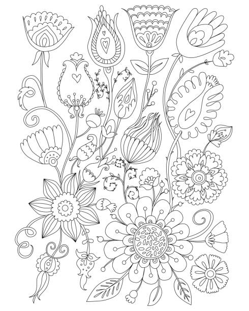 Page coloring for adults, floral design, anti-stress Coloring vector art illustration
