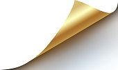 page curled up golden reveal corner design element