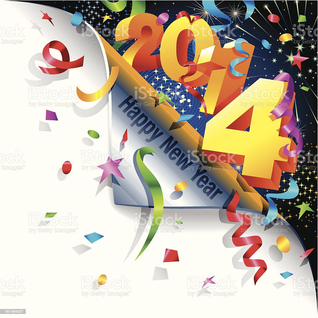 Page Curl - Happy New 2014 Year royalty-free stock vector art