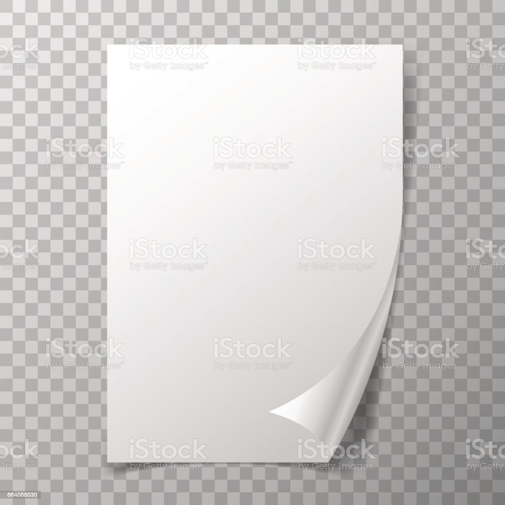Page curl on transparent background. Realistic folded empty paper. vector art illustration