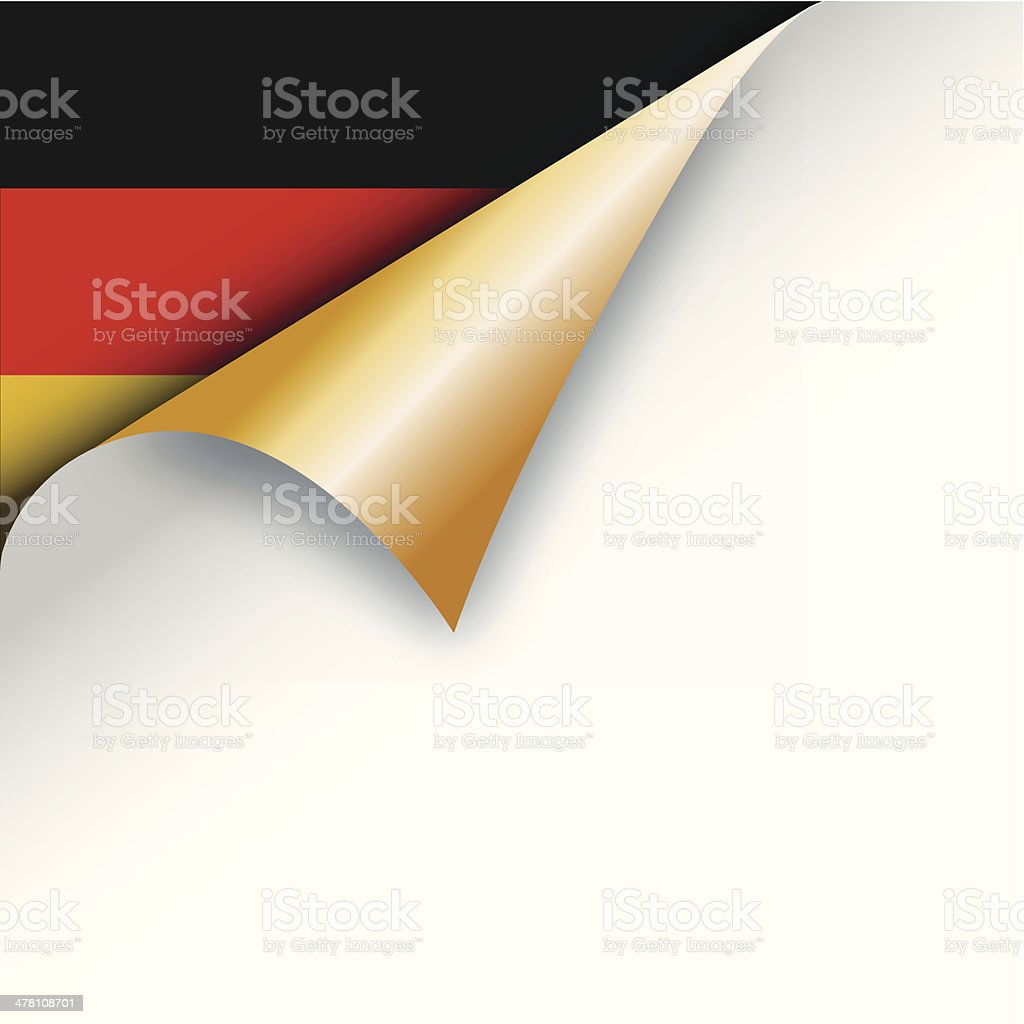 Page curl revealing German flag royalty-free stock vector art