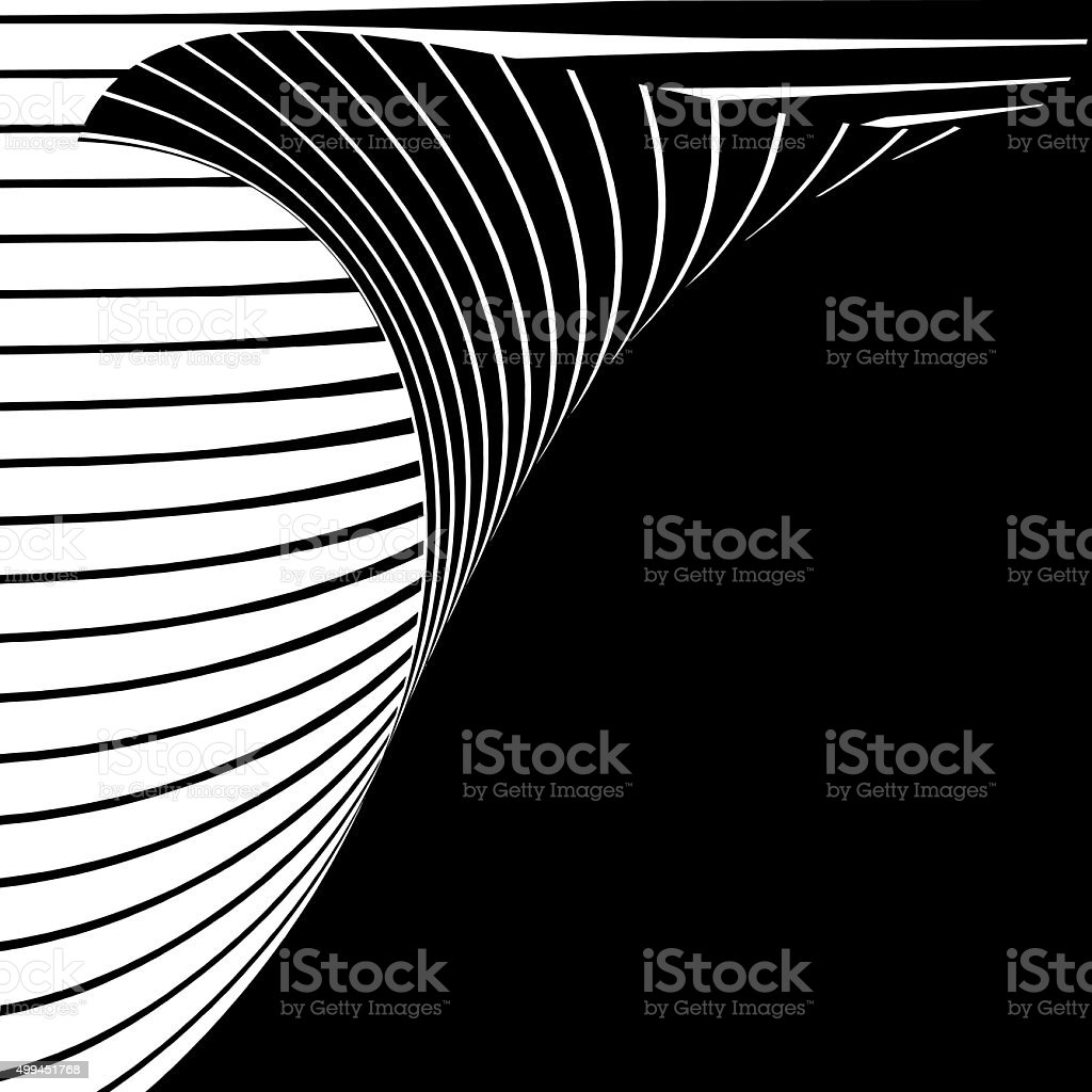 Page Curl With Striped Halftone Pattern, Isolated on Black vector art illustration