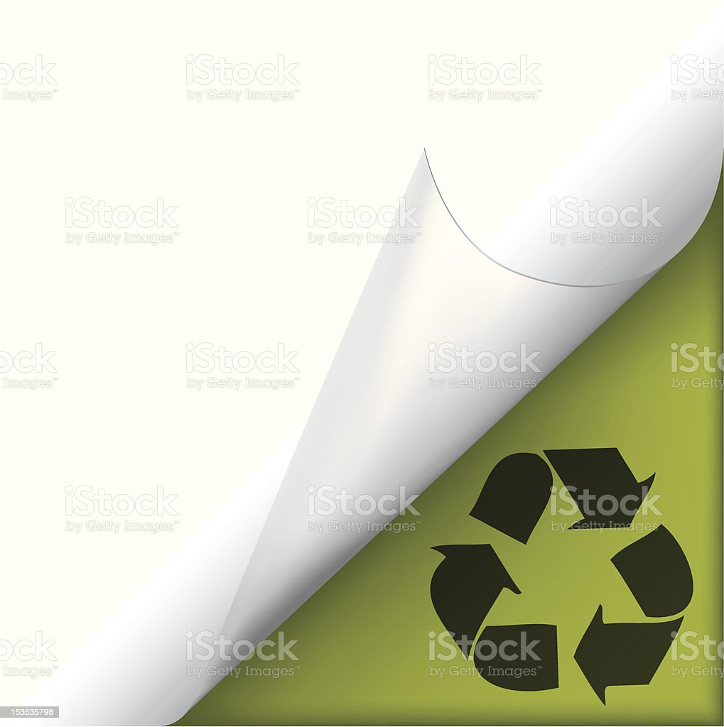 Page curled corner with recycle sign royalty-free stock vector art