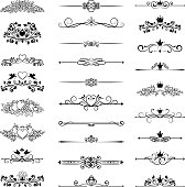 vector vintage page decor with crowns, arrows and floral elements